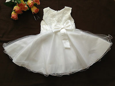 Baby Girl Christening Baptism Wedding Party Christmas 3D Flower Dress 18-24 Mos