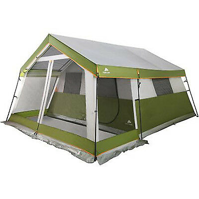 10 Person Camping Tent Front Screen Porch 14' x 13' Cabin Large Travel Green New