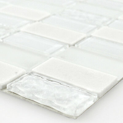 Self Adhesive Glass Natural Stone Mosaic Tiles White Polished