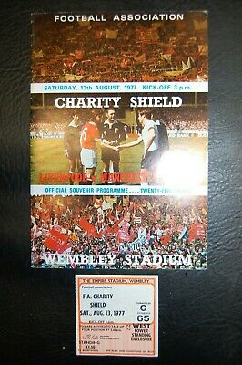 Ticket 1977 Charity Shield  Liverpool V Manchester United