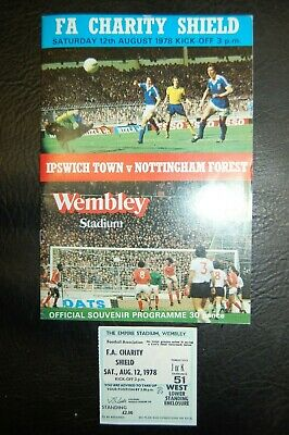Ticket 1978 Charity Shield  Ipswich Town V Nottingham Forest
