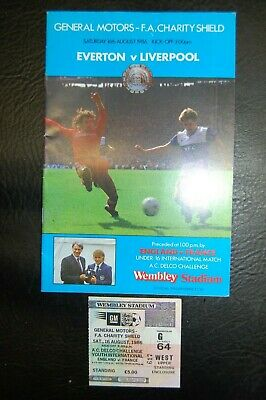 Ticket 1986 Charity Shield   Everton V Liverpool  Mint
