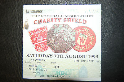 Ticket 1993 Charity Shield   Arsenal V Manchester United