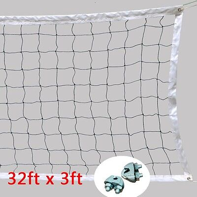 Official Size Volleyball Net With Steel Cable Rope Beach Outdoor Indoor US Ship