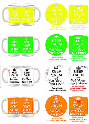 PERSONALISED Mugs/Coaster KEEP CALM AND CARRY ON,with any TEXT/COLOUR/Logo