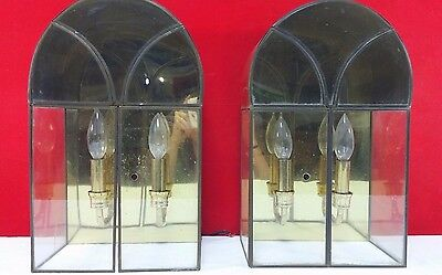 2 Vintage Brass Lighting Ornate Lead Glass Antique Wall Mounted Light Fixture