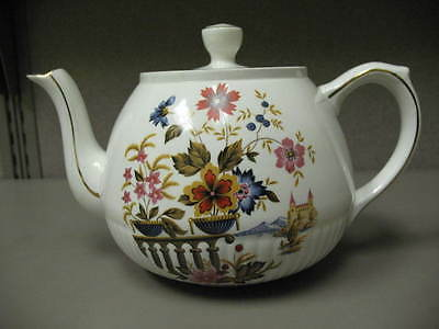 Ellgreave Ironstone Teapot Floral and Castle Design Made in England