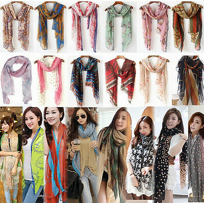 Women Retro/Fashion Long Soft Chiffon Silk Cotton Scarf Wrap Shawl Stole Scarves