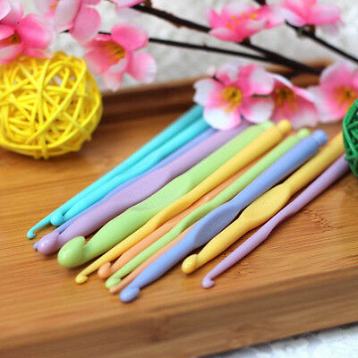 "12pcs 6"" 15cm Plastic Crochet Hooks Crocheting Knitting Needles 2-10mm"