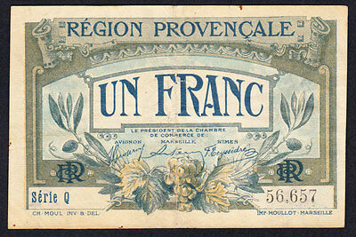 France Provincial Note 1 Franc 1922 VF