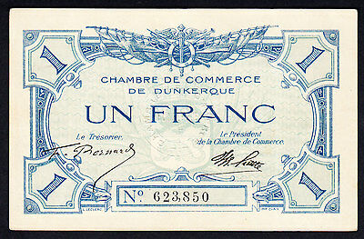 France Dunkerque Chambre de Commerce Note 1 Franc Emergency Issue Crisp EF