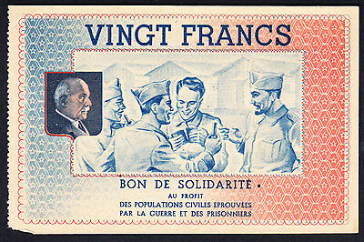 France WWII 1940-1944  Bon de Solidatité 20 Francs Maréchal Pétain AU Note