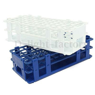 Plastic 60 Positions Test Tube Stand Bracket Rack 16mm Hole Blue / White