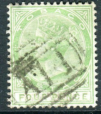 TOBAGO-1882 4d Yellow Green.  Fine used  Sg 18
