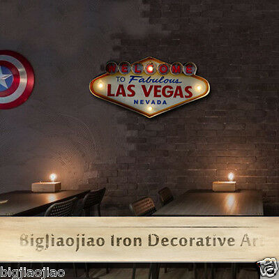 Retro Style Welcome Las Vegas Mural Cafe Bar Wall Decoration Iron Art Signboard