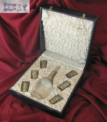 Antique Art Deco Fitted Box Set Of Six Gilt Alcohol Cups & Decanter - Derby