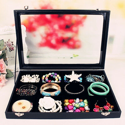 Top Quality Glass Lid 12 Ring Jewellery Display Storage Box Tray Case Organiser
