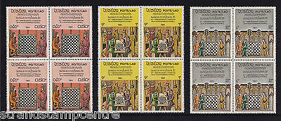 Laos - 1984 Chess - U/M - SG 725-31 BLOCKS of FOUR + MS 732