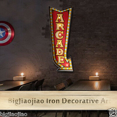 Retro Style Arcade Mark Direction Wall LED Light Signboard Iron Art Decoration