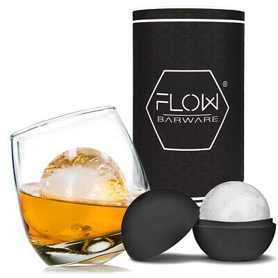 Rocking Whiskey Glass & Mega Ice Ball Gift Set - Whisky Glass, Ice Mould & Tube