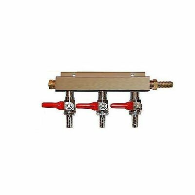 "3 Way CO2 Distribution Block Manifold Splitter with 1/4"" Barbs - Kegerator"