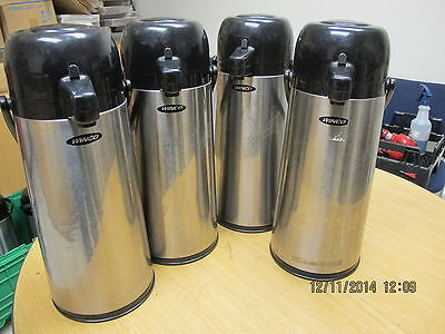 Lot of 4 Winco 2.2 Liter Push Button Airpot Vacuum Insulated Airpot Stainless