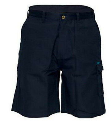 Prime Mover Mens Navy Cotton Drill Cargo Short Work Tradie Heavy Duty all size