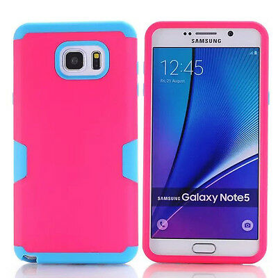 Hot Pink/Blue Rugged Hybrid Rubber Hard Cover Case For Samsung Galaxy Note 5