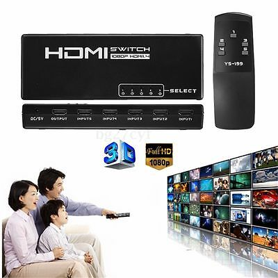 5 Port HDMI Selector Splitter Switch Switcher 1080P For PS3 HDTV Monitor +Remote