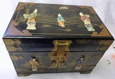 Antique Chinese Hand Carved Famile Rose Wood Jewelry Lacquer Box Chest Cabinet