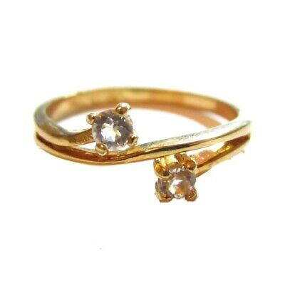 Vintage 14Kt Ge Espo Yellow Gold Plated Ever Us Cubic Zirconia 2 Stone Ring*s787