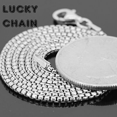 """20""""-30""""925 STERLING SILVER ROUND BOX CHAIN NECKLACE 1.5MM 9g-12g E805"""