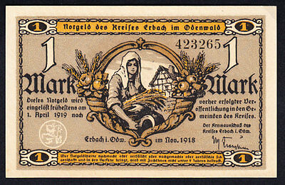 GERMANY ERBACH ODENWALD NOTGELD 1 MARK 1918 AU Note