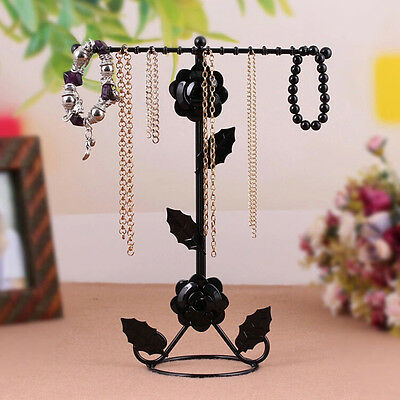 2-Tier Metal Earring Necklace Jewelry Holder Stand Organizer Display Rack UK AY