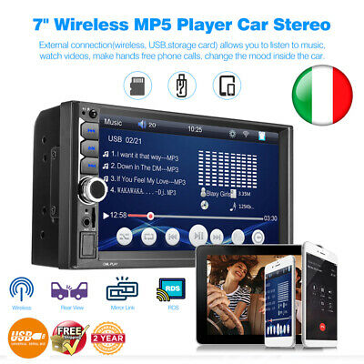 """7"""" 2 DIN GPS Navigazione Auto Android Bluetooth HD Touch Stereo Radio USB AUX SD"""