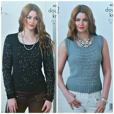 KNITTING PATTERN Ladies Long Sleeve Jumper Sequined Front Panel DK & Cosmos 4055