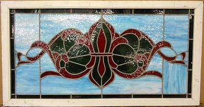 """LARGE OLD ENGLISH LEADED STAINED GLASS WINDOW Pretty Fleur de Lis 38"""" x 20.25"""""""
