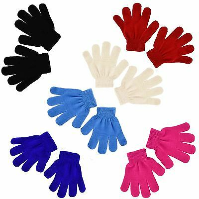 Kids Boys Girls Warm Magic Gloves Winter Protection Stretchy Knitted 5 Colours