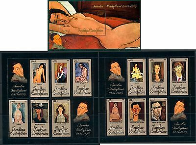 Central Africa Art Nude Amedeo Modigliani complete MNH stamps set