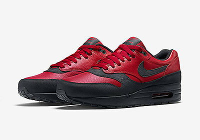 808ce90972ac0 Nike Air Max 1 QS Gym Red Black Bred Jordan Leather 90 Force Trainers  Sneakers