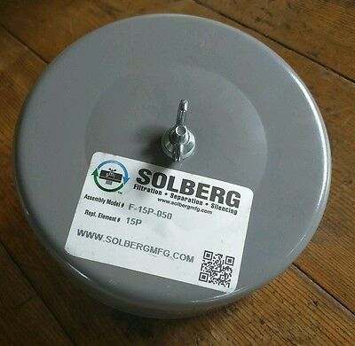 "Air Compressor Inlet Filter Solberg F-15P-050 6"" Diameter Steel 1/2"" MNPT 35 CFM"