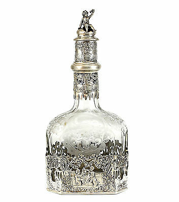 Storck & Sinsheimer German Hanau Silver Mounted & Etched Glass Decanter c1910