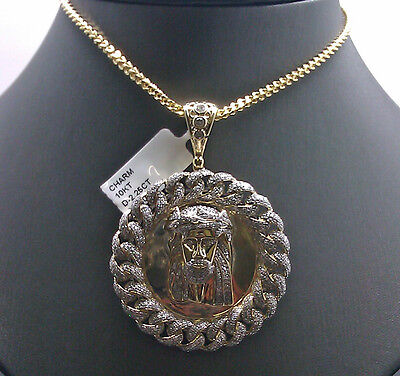 New Design Round Jesus Head Charm For Men's 10K Yellow Gold With 2.25CT Diamond