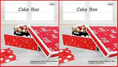 2x SHMICK Red/White CHRISTMAS BOX (27x27x10cm) 10 inch Cake Container Party