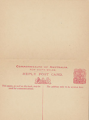 Stamp NSW 1d red shield official post office pre-printed reply postcard unused