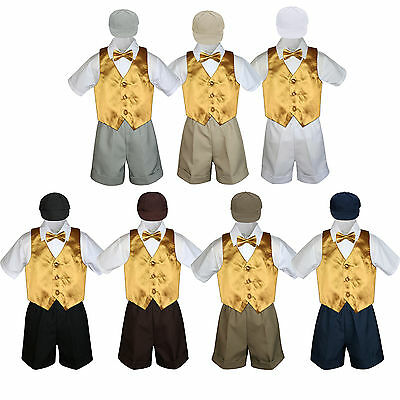 5pc Set Boys Toddler Formal Gold Vest Bow Tie White Khaki Navy Hat Shorts S-4T