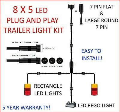8x5 TRAILER LED WIRE KIT EASY TO INSTALL PLUG AND PLAY WIRING RECTANGLE DIY &