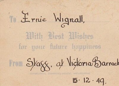 Dunklings Jewellery Melbourne 1949 card from staff at Victoria Barracks to Ernie