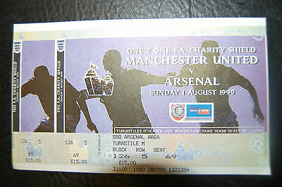 Unused Ticket 1999 Charity Shield   Arsenal  V  Manchester United Mint