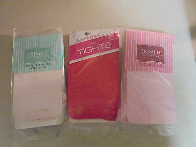 VINTAGE Girls Assorted Colors & Style Size 8-10 Tights  (Lt Pink, Red and Pink)